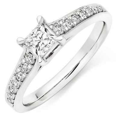 Platinum Diamond Princess Cut Ring