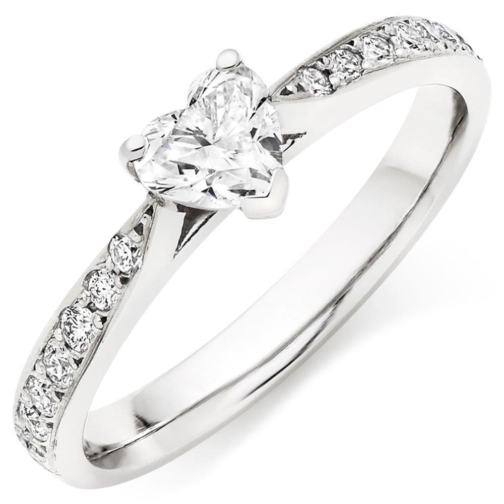 Platinum Diamond Heart Shaped Solitaire Ring