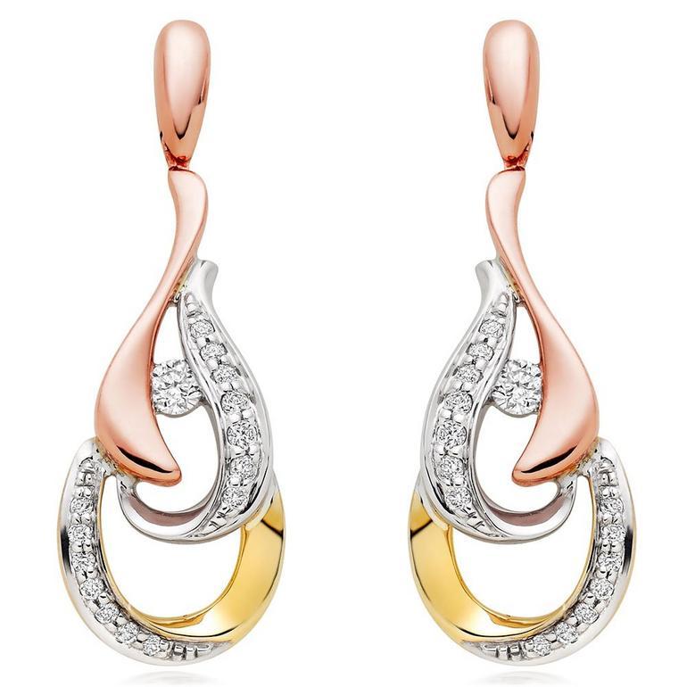 Era Enchant 9ct White, Rose and Yellow Gold Diamond Earrings