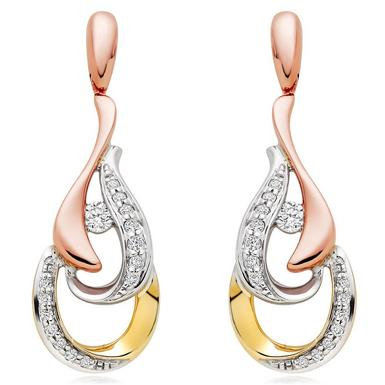 Era Enchant 9ct White, Rose and Yellow Gold Diamond Earrings