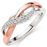 Era Twist 9ct White and Rose Gold Diamond Ring