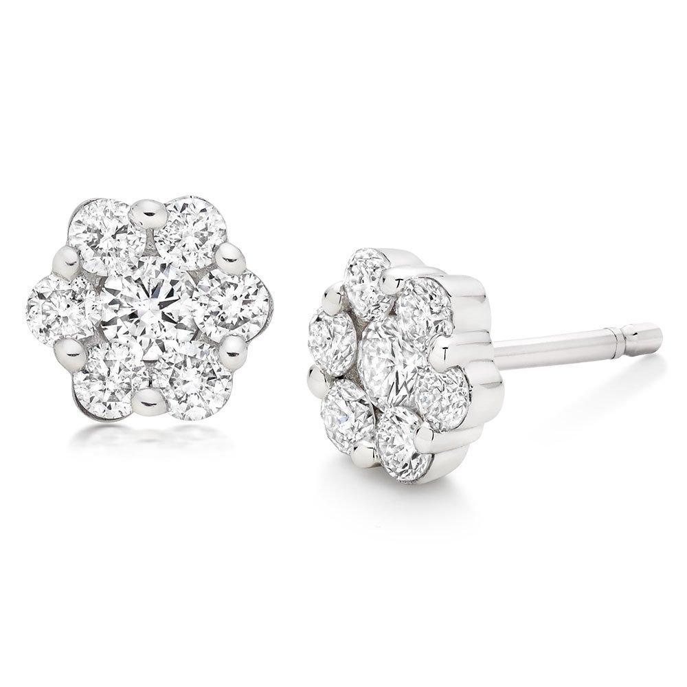 9ct White Gold Diamond Cluster Earrings