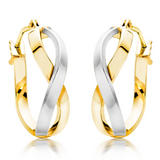 9ct Gold and White Gold Twist Earrings