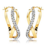 9ct Gold Crystal Twist Earrings