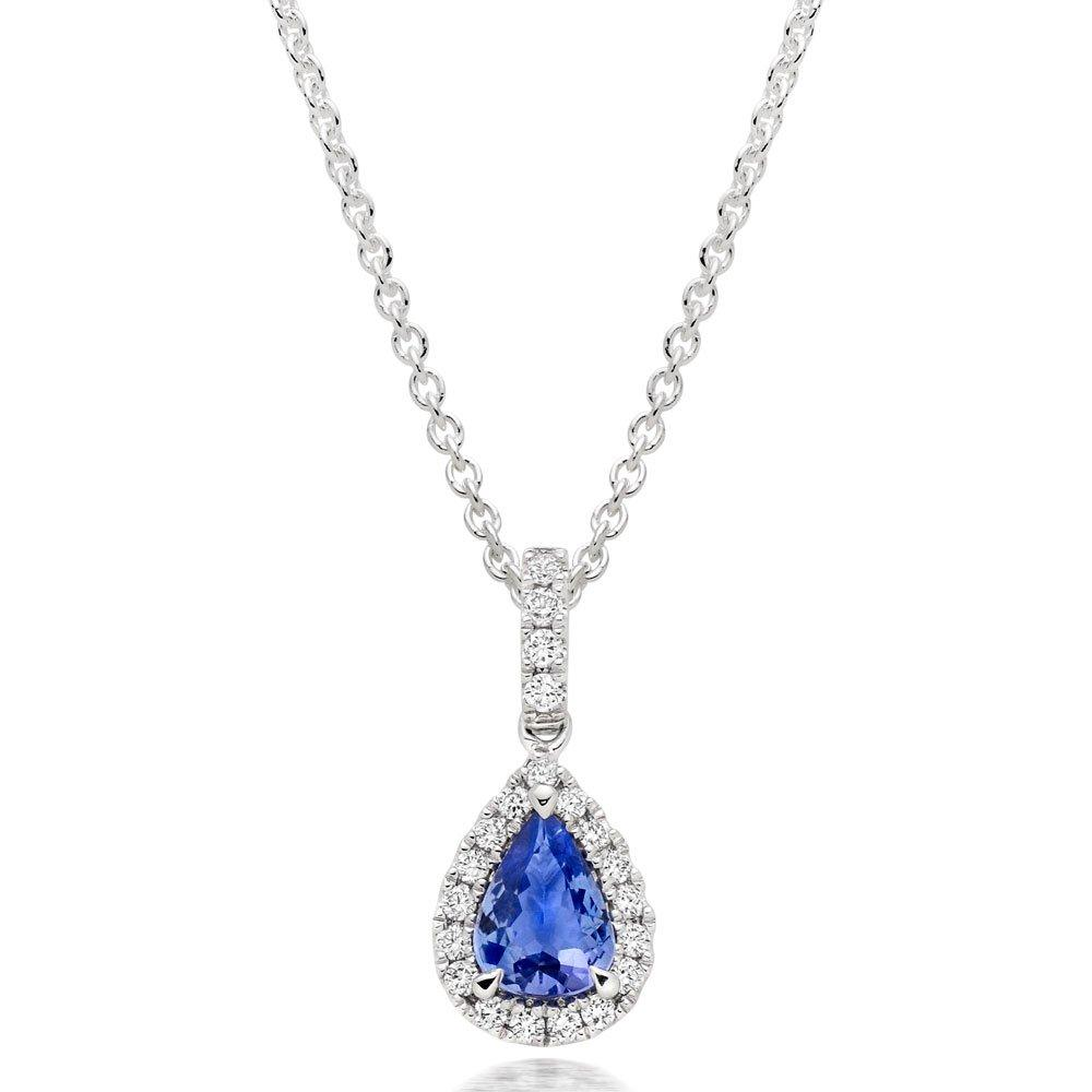 18ct White Gold Diamond Tanzanite Pear Shaped Halo Pendant