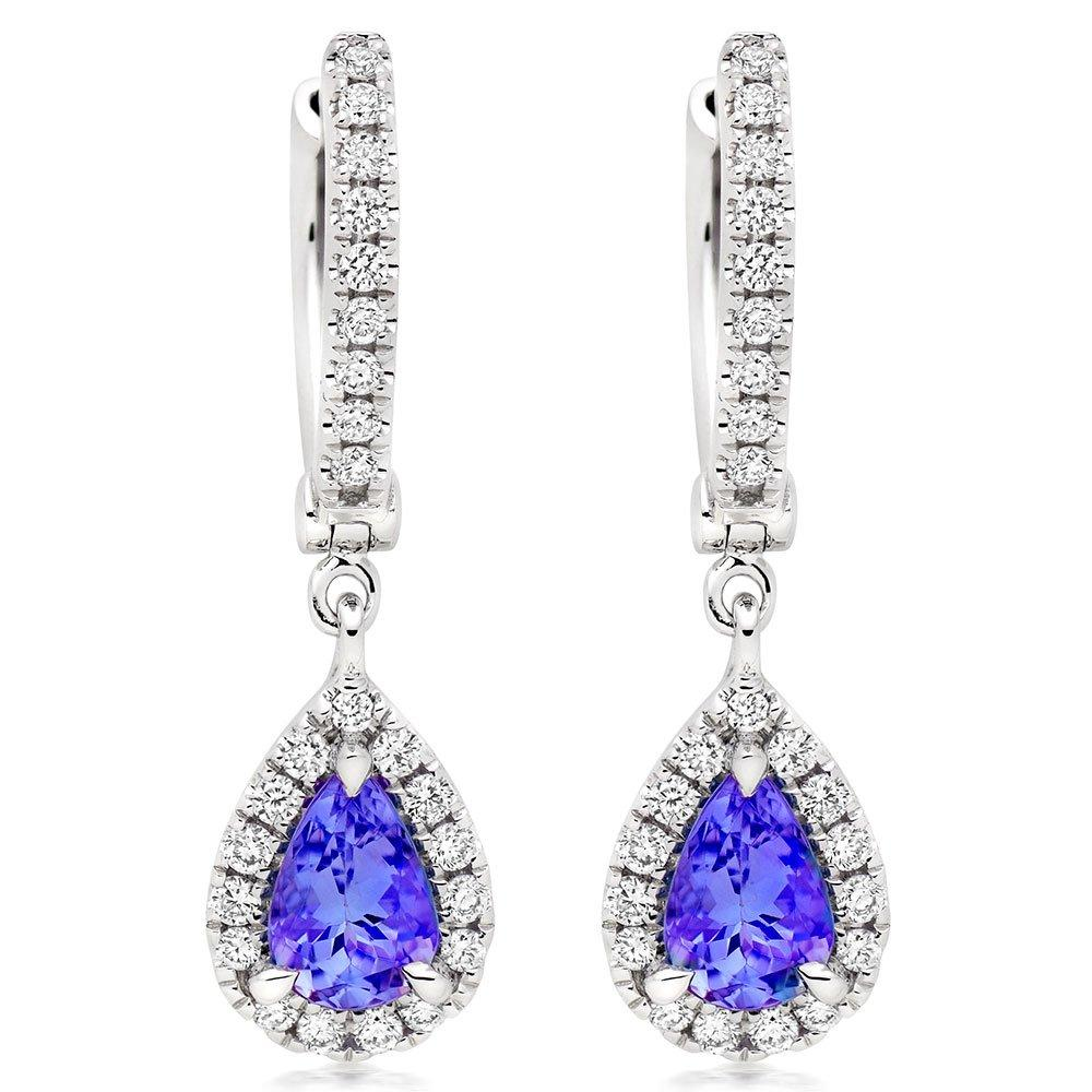 18ct White Gold Diamond Tanzanite Pear Shaped Halo Drop Earrings