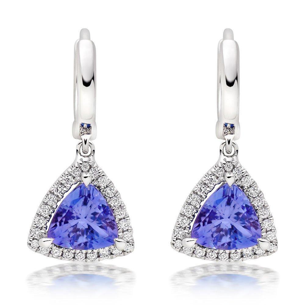 18ct White Gold Diamond Tanzanite Earrings