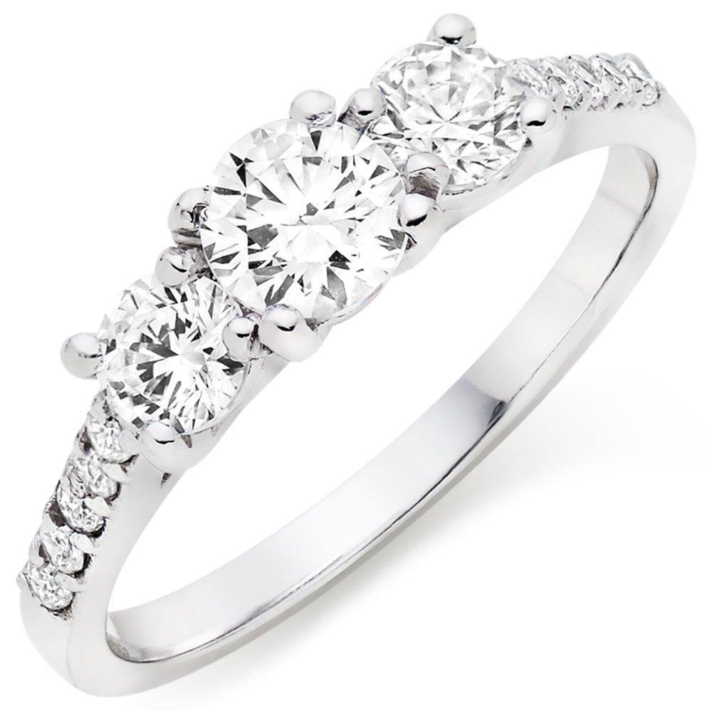 9ct White Gold Three Stone Cubic Zirconia Ring
