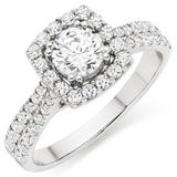 9ct White Gold Cubic Zirconia Halo Ring