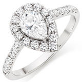 9ct White Gold Cubic Zirconia Pear-Shaped Halo Ring