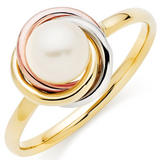 9ct Three-Colour Gold Freshwater Cultured Pearl Ring