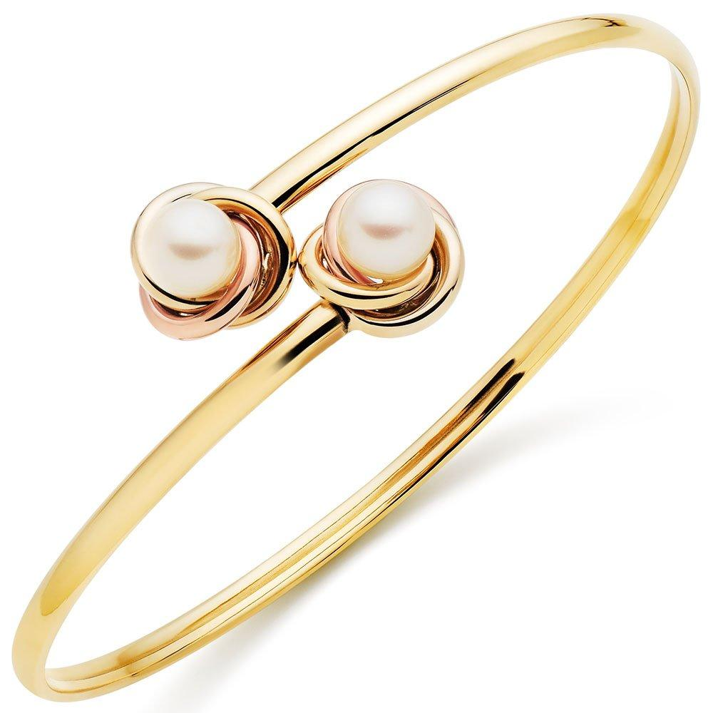 9ct Two Colour Gold Freshwater Cultured Pearl Bangle