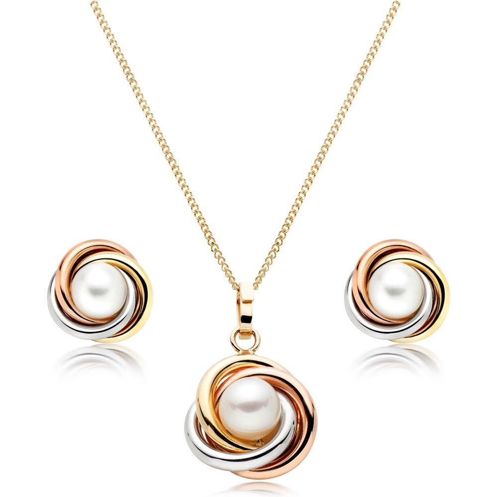9ct Gold, Rose Gold and White Gold Freshwater Cultured Pearl Knot Pendant and Earrings Set