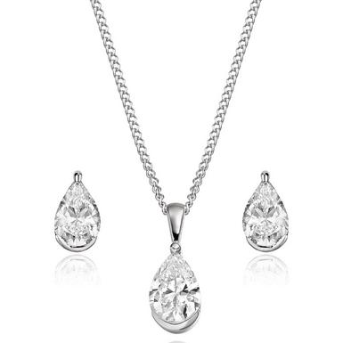 9ct White Gold Cubic Zirconia Pear-shaped Pendant and Earrings Set