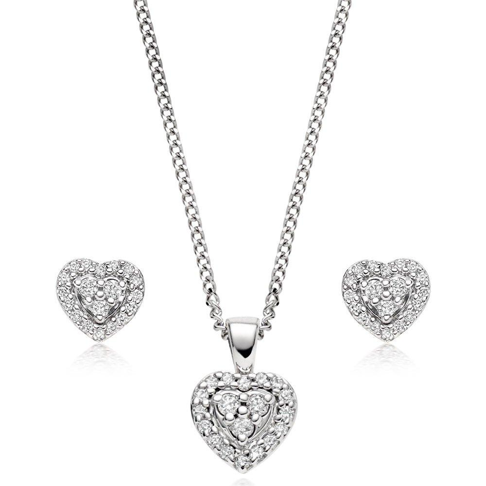 9ct White Gold Diamond Heart Pendant and Earrings Set