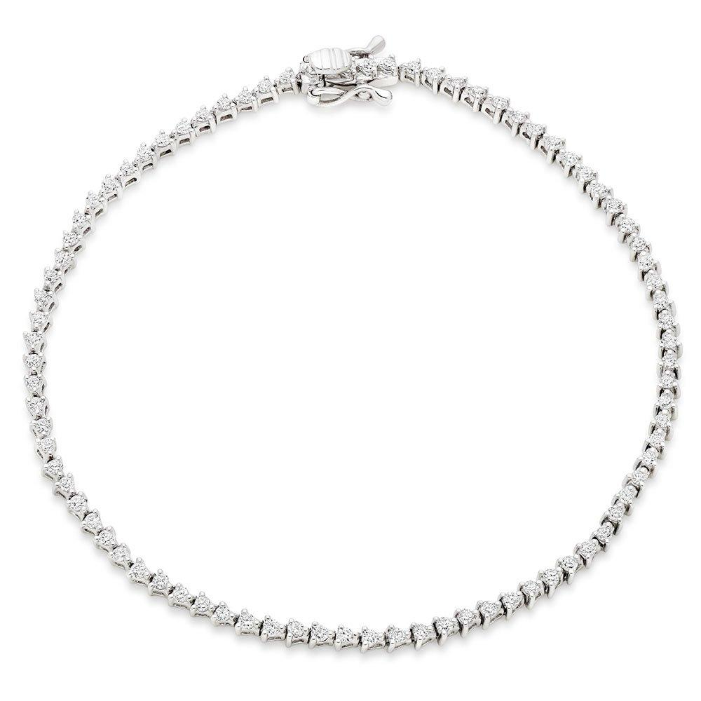 9ct White Gold Diamond Tennis Bracelet