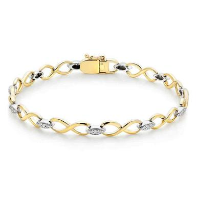 9ct Gold and White Gold Diamond Infinity Bracelet
