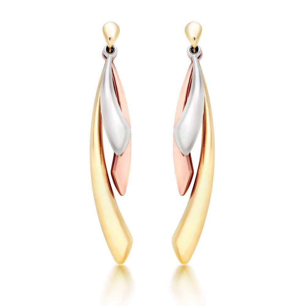 9ct Gold, Rose Gold and White Gold Drop Earrings