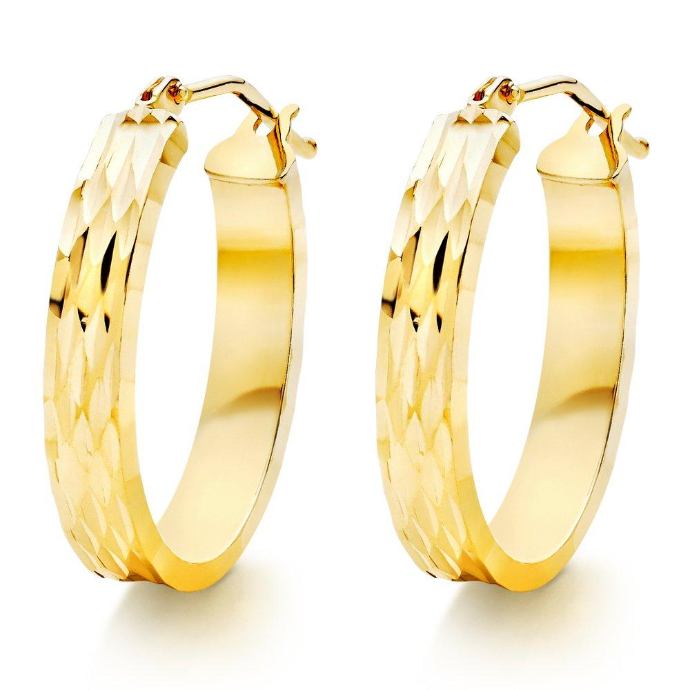 9ct Gold Sparkle Cut Hoop Earrings