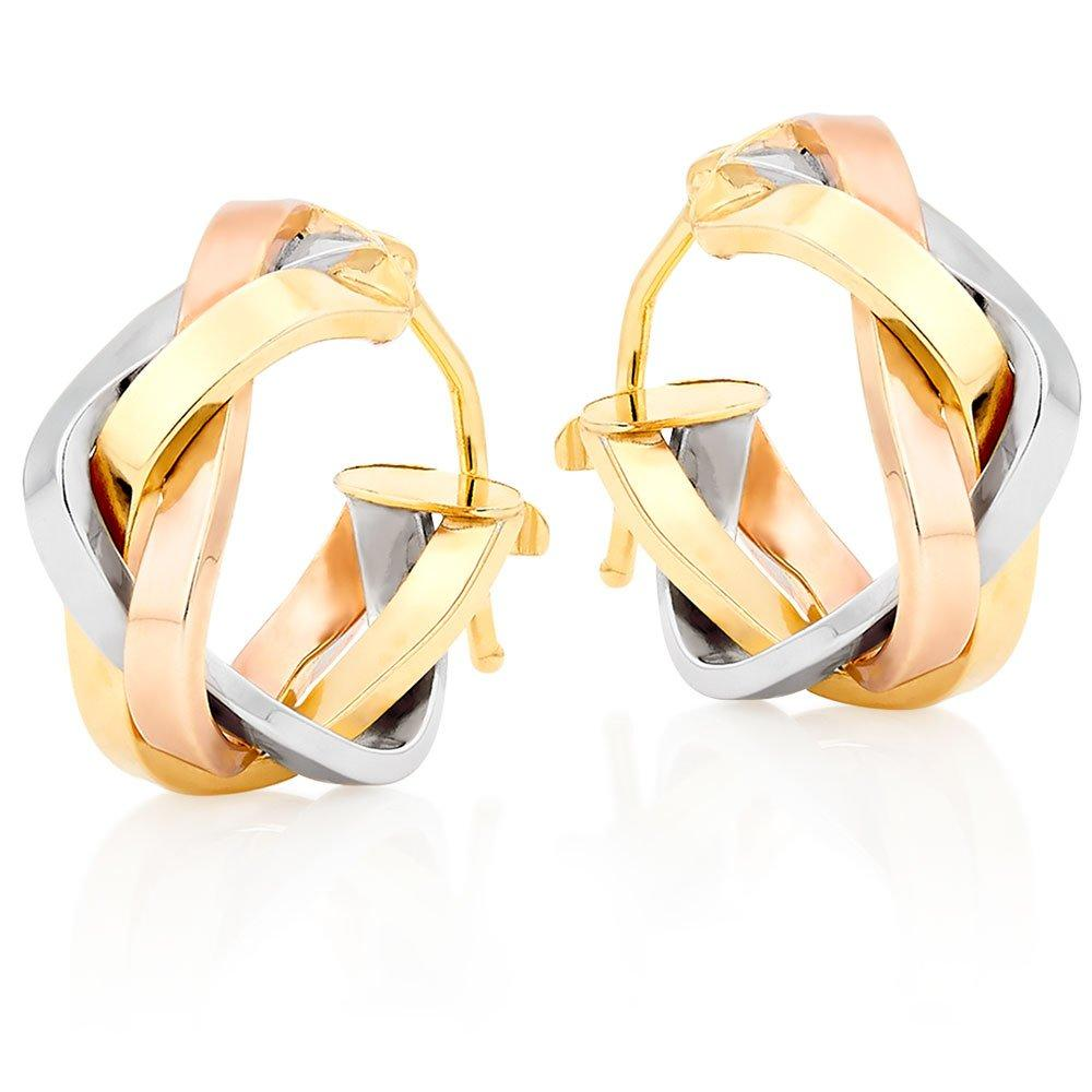 9ct Gold, White Gold and Rose Gold Hoop Earrings
