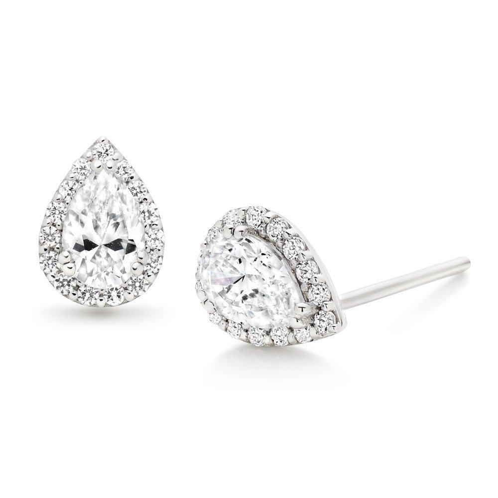 9ct White Gold Cubic Zirconia Pear-Shaped Halo Earrings