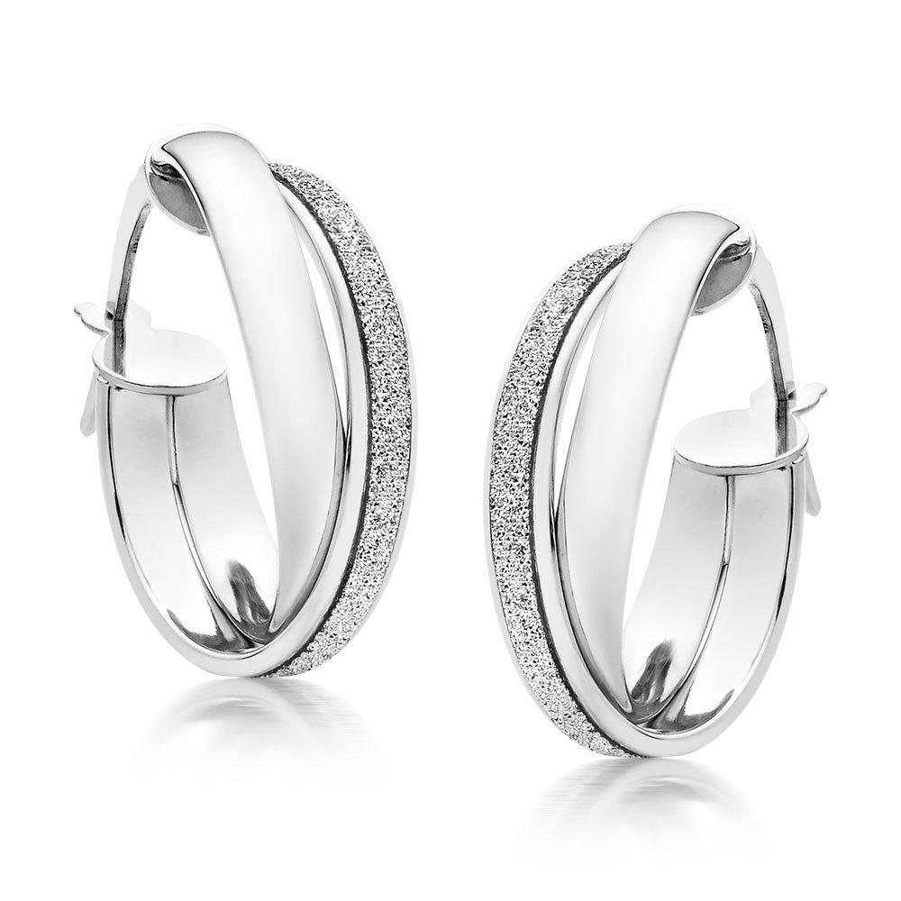 Glitter and Sparkle 9ct White Gold Hoop Earrings