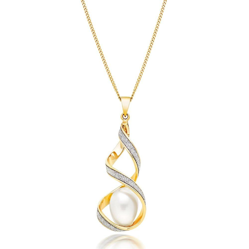 Glitter and Sparkle 9ct Gold Freshwater Cultured Pearl Twist Pendant