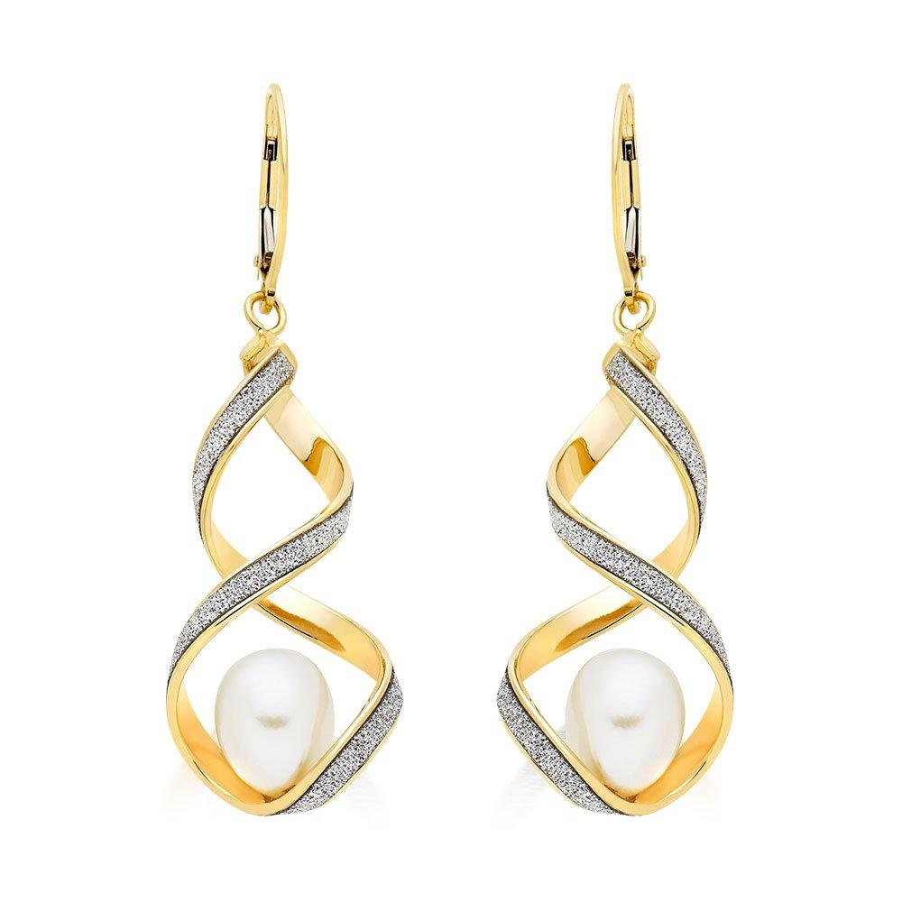 Glitter and Sparkle 9ct Gold Freshwater Cultured Pearl Twist Earrings