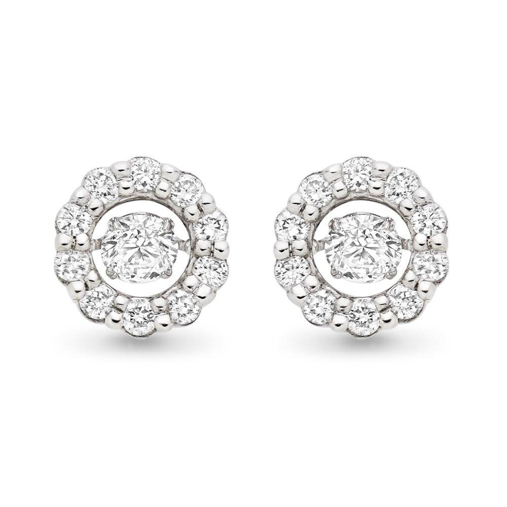 Dance 9ct White Gold Diamond Halo Earrings