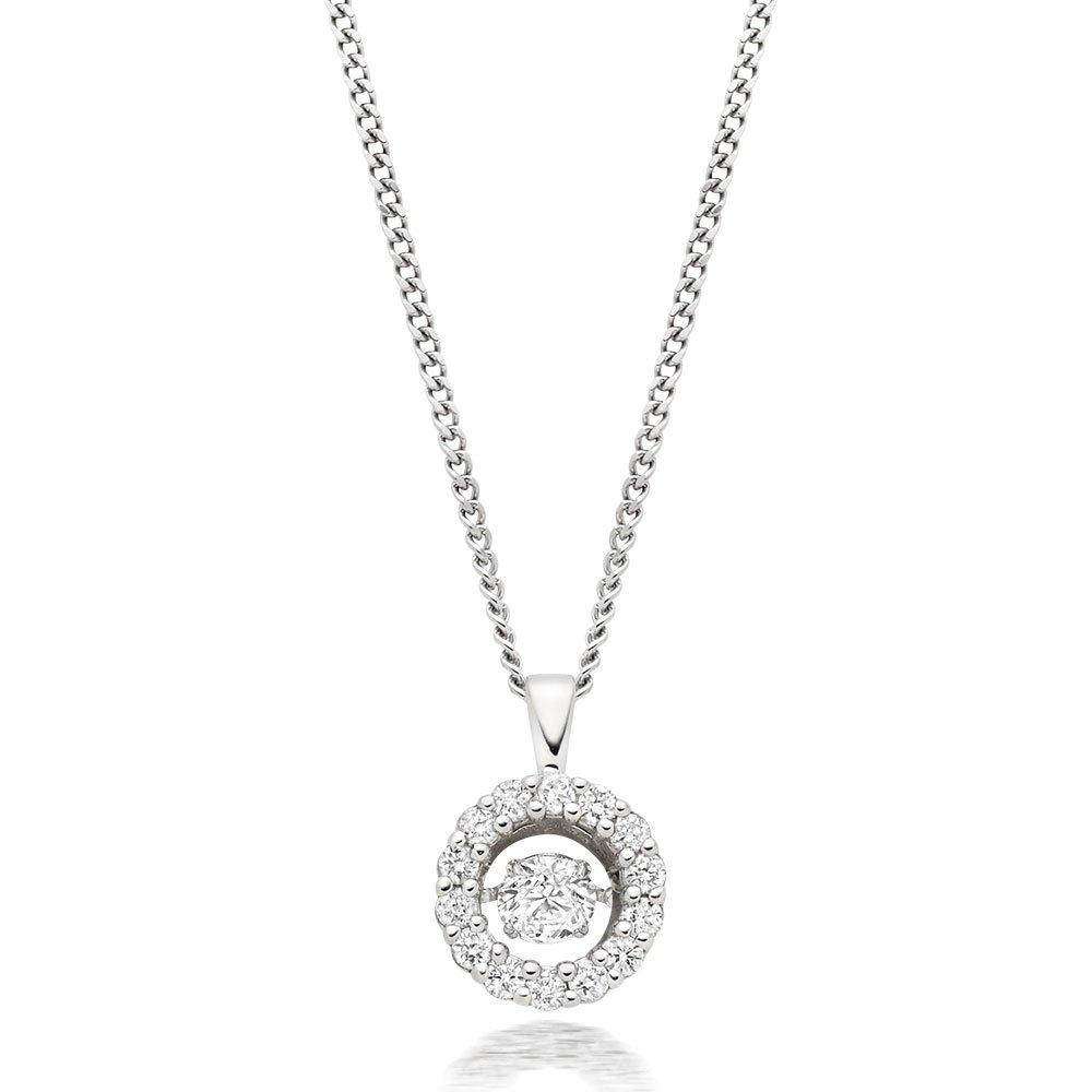 Dance 9ct White Gold Diamond Halo Pendant