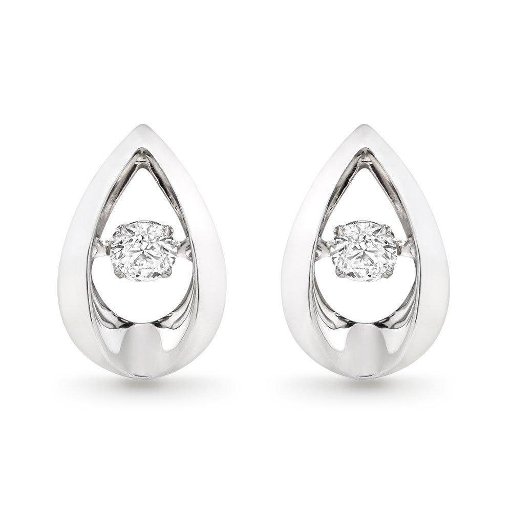 Dance 9ct White Gold Diamond Earrings