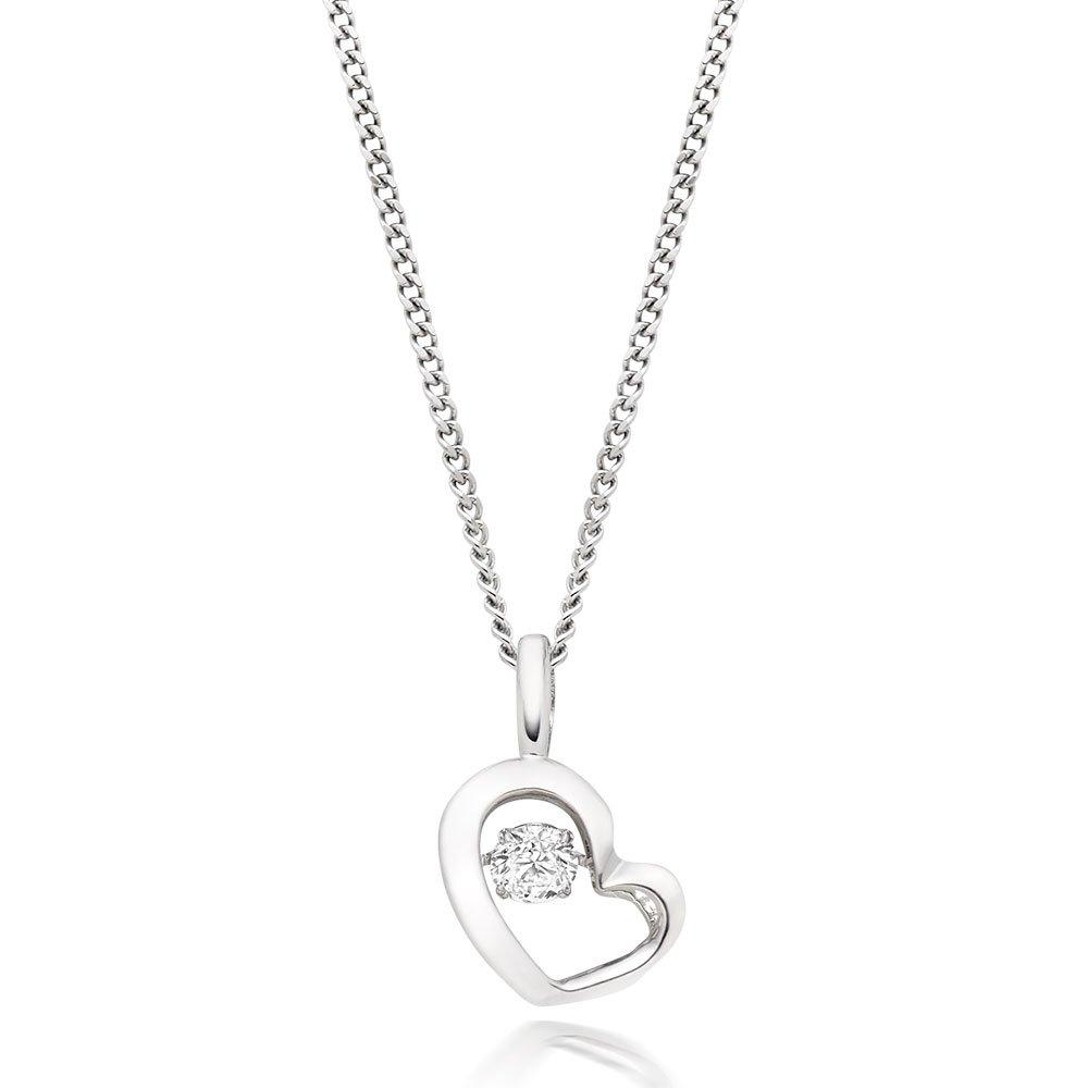 Dance 9ct White Gold Diamond Heart Pendant