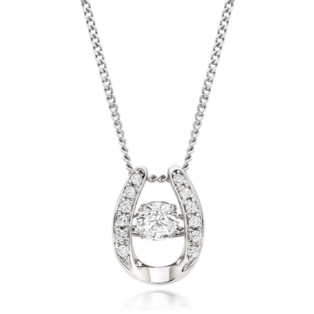 Dance 9ct White Gold Diamond Horseshoe Pendant