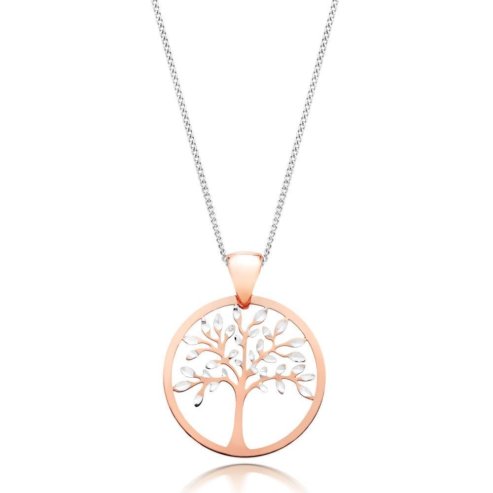 9ct White Gold and Rose Gold Tree Pendant