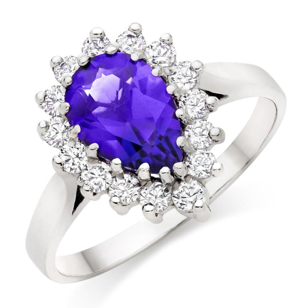 9ct White Gold Amethyst Cubic Zirconia Ring