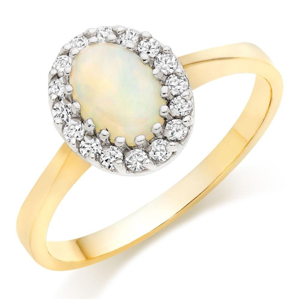 9ct Gold Opal and Cubic Zirconia Ring