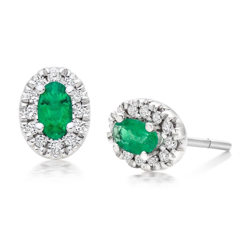 18ct White Gold Diamond Emerald Halo Earrings