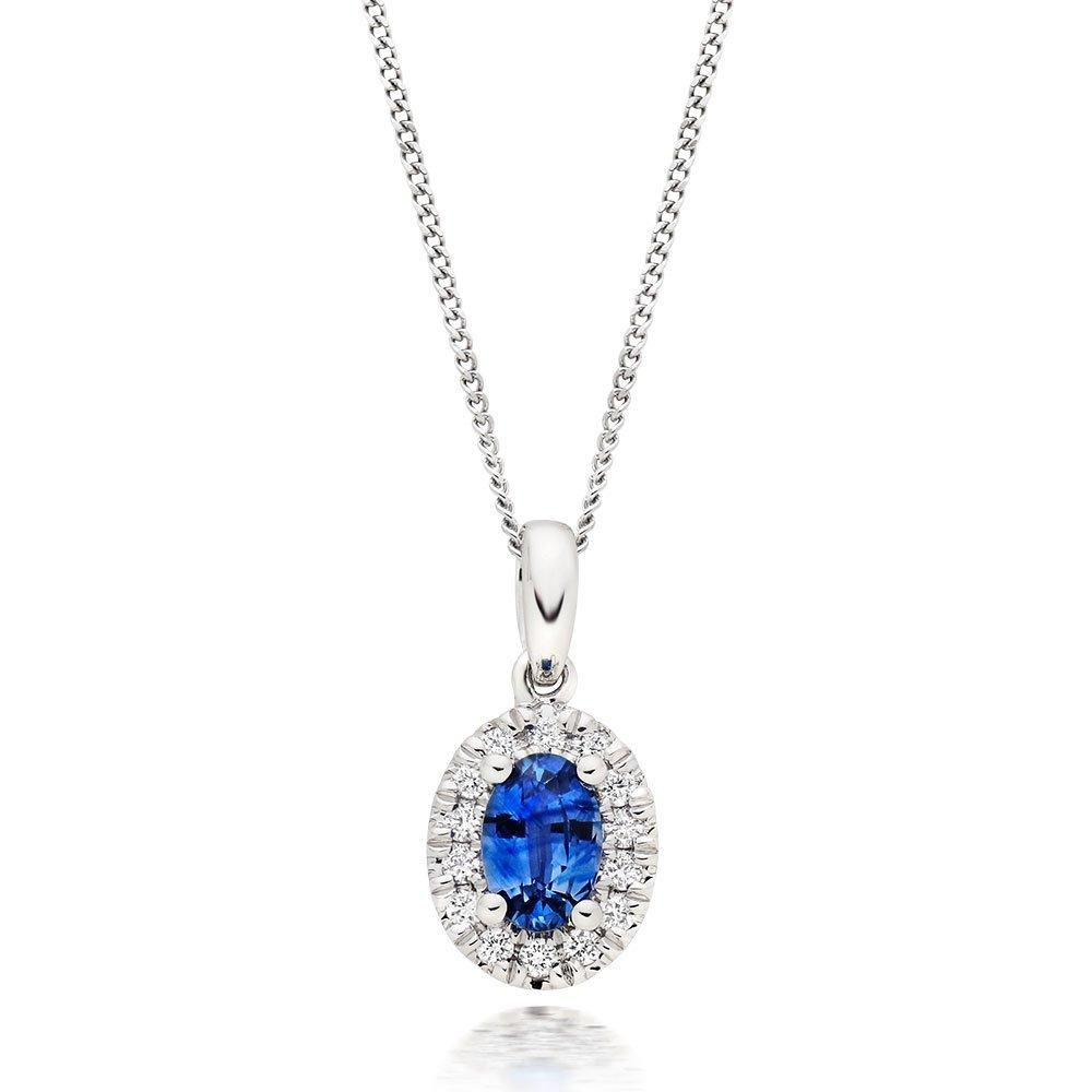 18ct White Gold Diamond Sapphire Halo Pendant