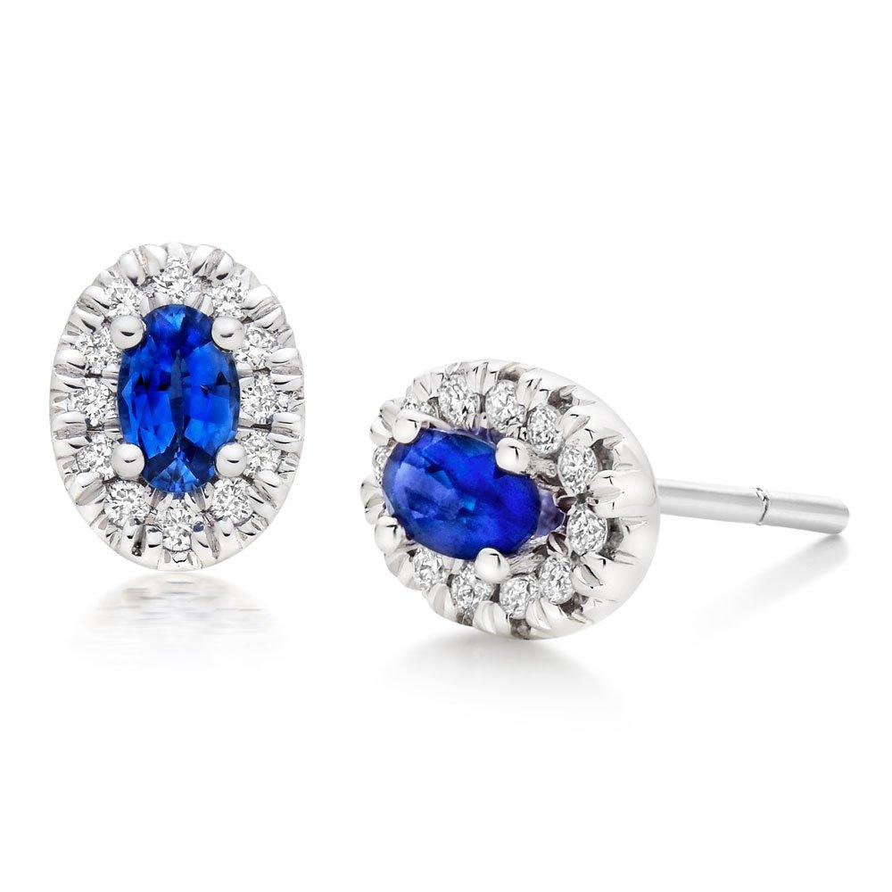 18ct White Gold Diamond Sapphire Halo Earrings