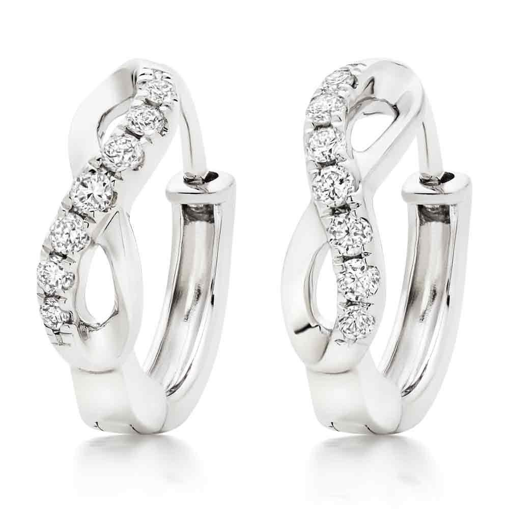 9ct White Gold Diamond Infinity Hoop Earrings