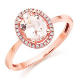 9ct Rose Gold Diamond and Morganite Halo Ring