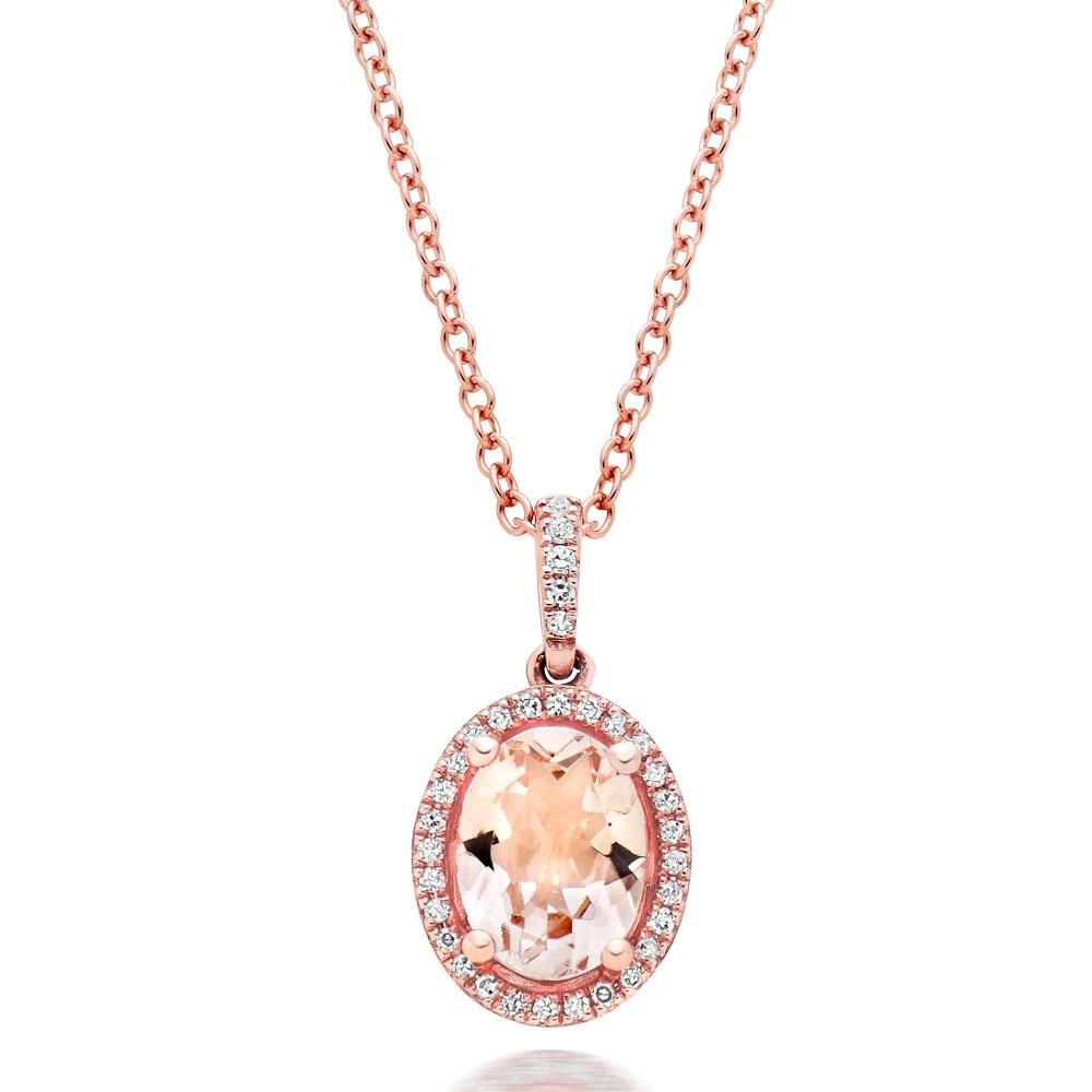 9ct Rose Gold Diamond and Morganite Halo Pendant