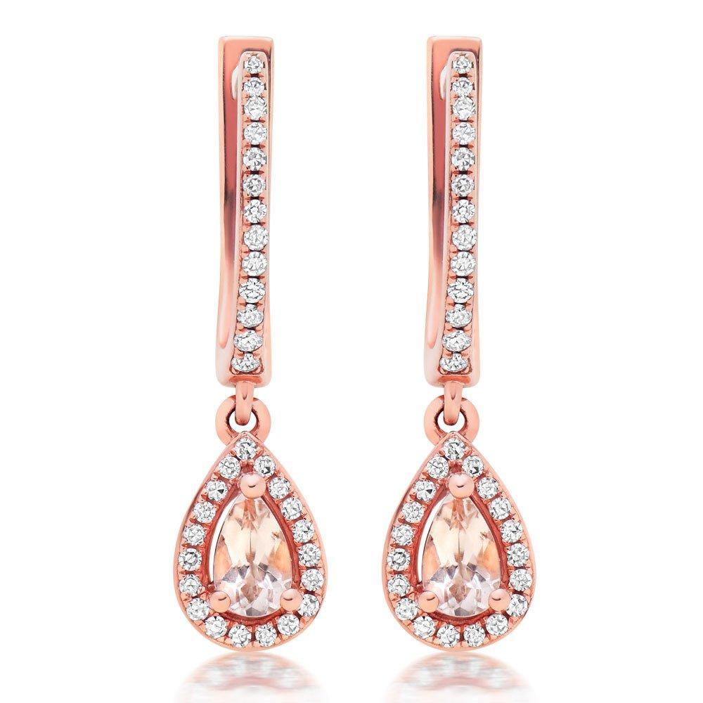 9ct Rose Gold Diamond and Morganite Drop Earrings