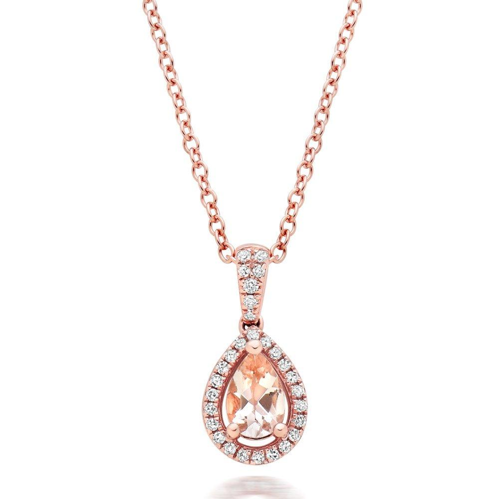 9ct Rose Gold Diamond and Morganite Halo Pendant