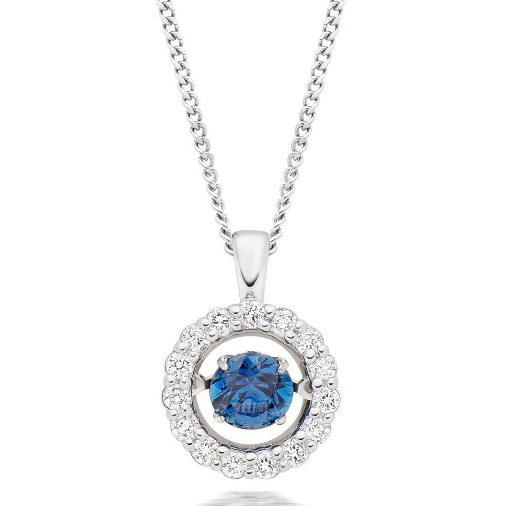 Dance 9ct White Gold Diamond Sapphire Halo Pendant