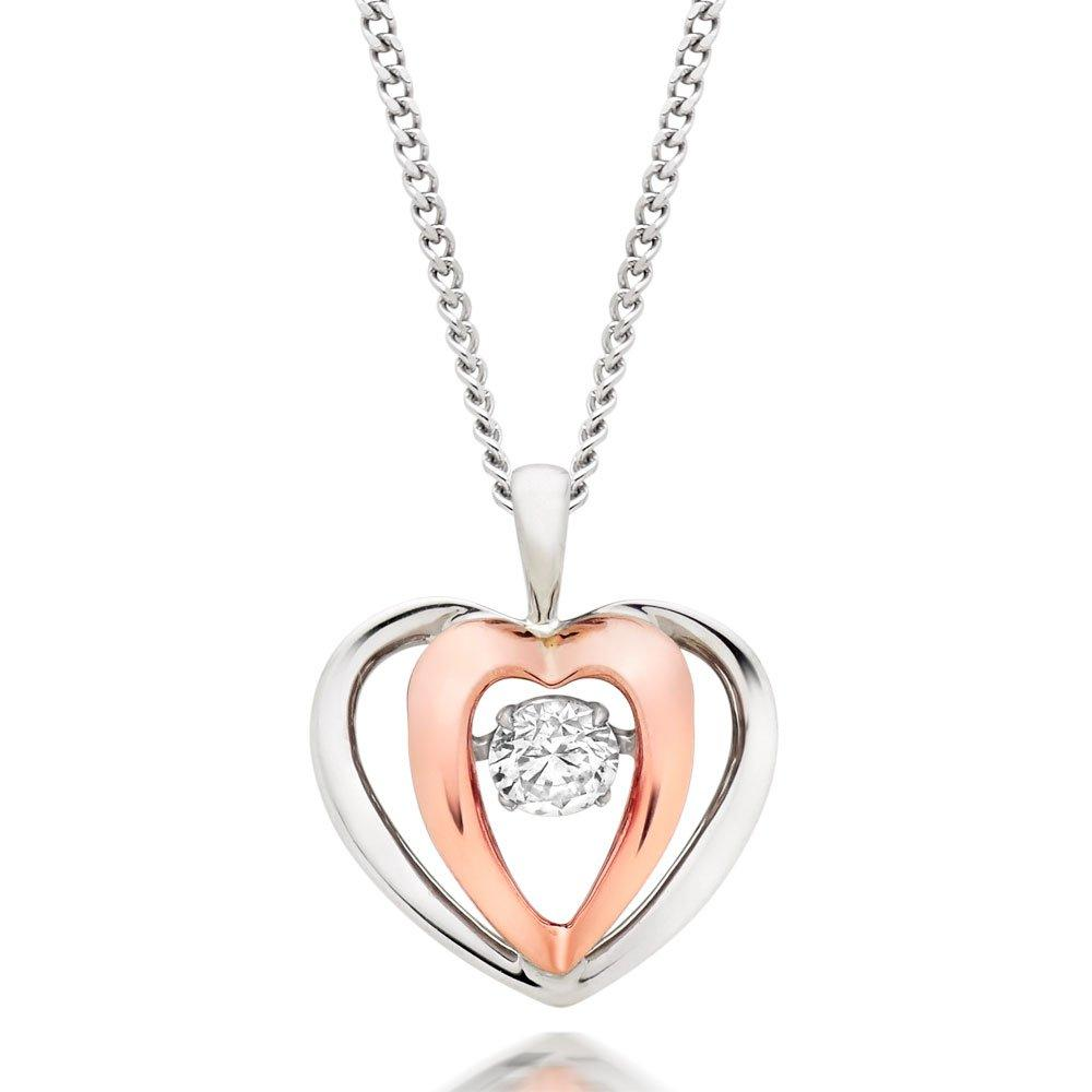 Dance 9ct White Gold and Rose Gold Diamond Heart Pendant