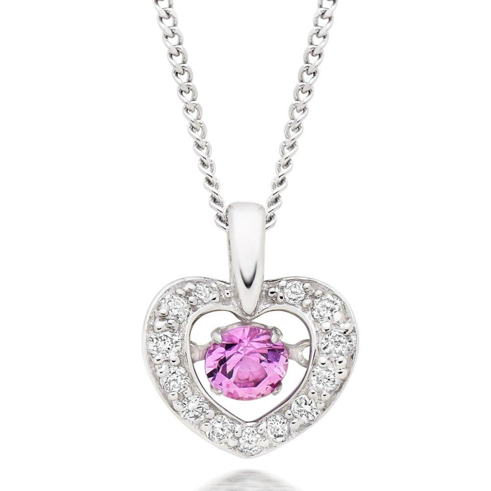 Dance 9ct White Gold Pink Sapphire and Diamond Pendant
