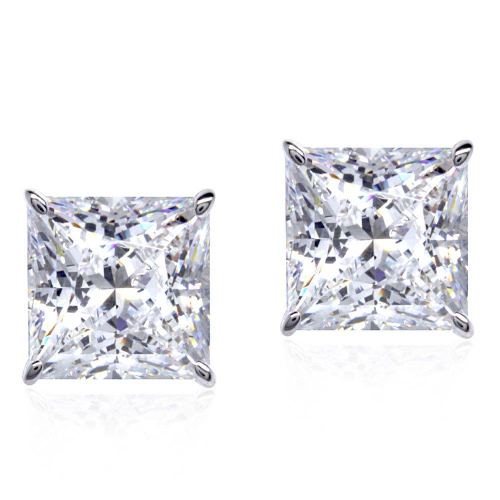 CARAT 9ct White Gold Princess Cut Stud Earrings