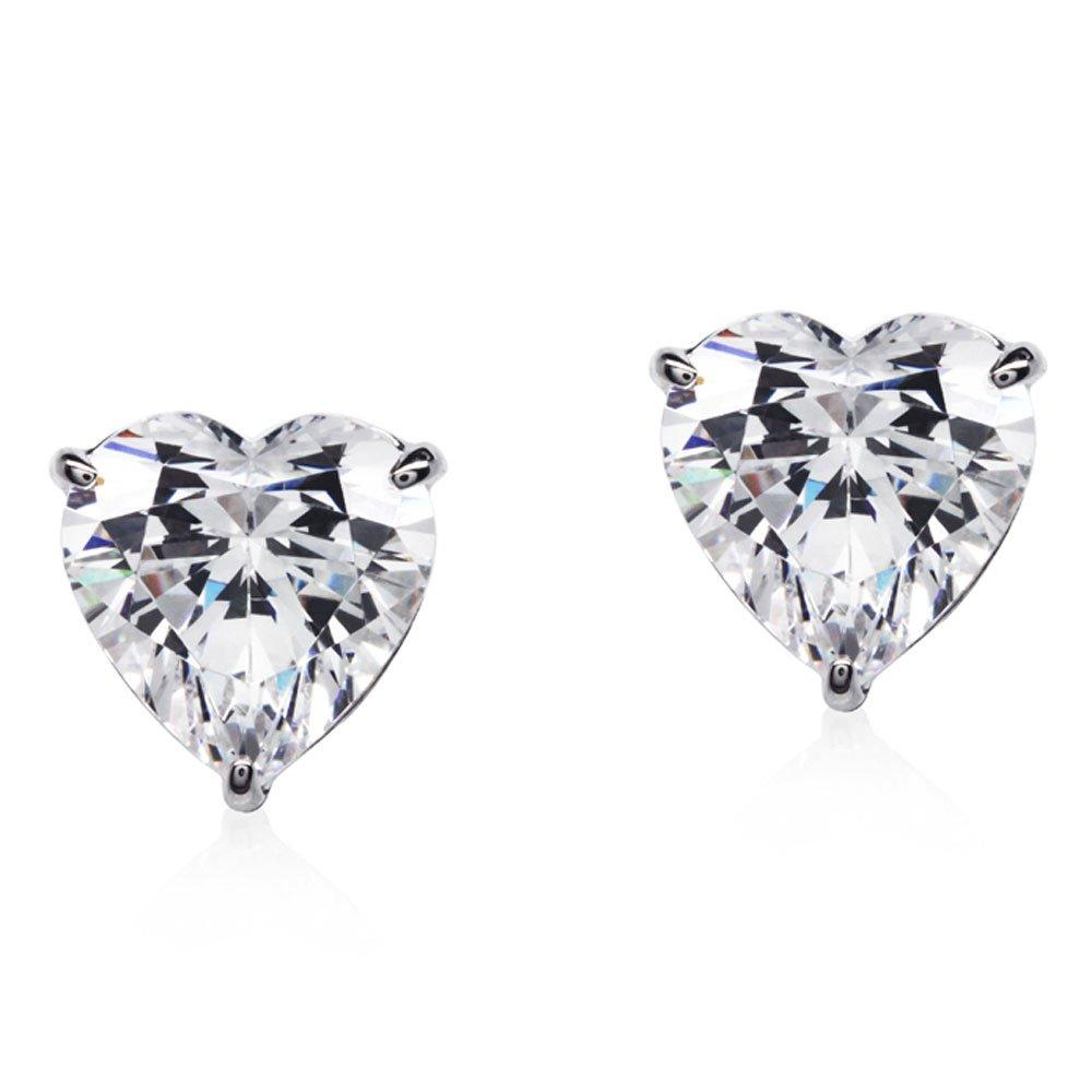 CARAT 9ct White Gold Heart Stud Earrings
