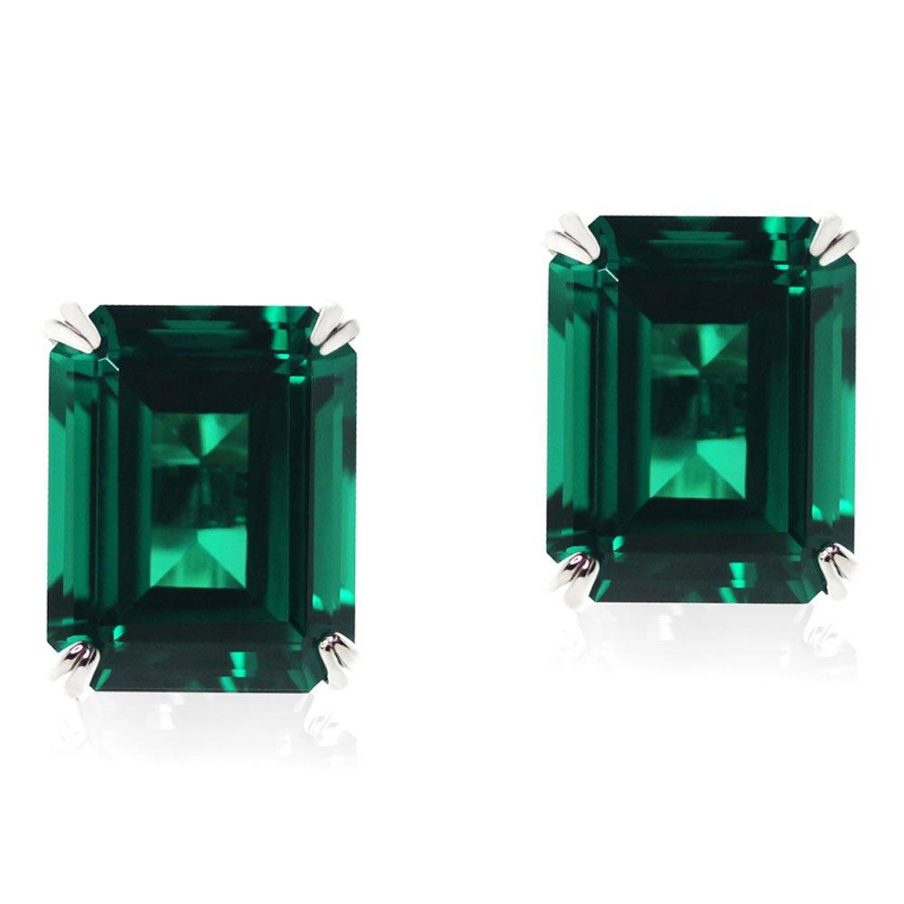 CARAT 9ct White Gold Emerald Cut Stud Earrings